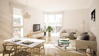 Render interior promoción inmobiliaria
