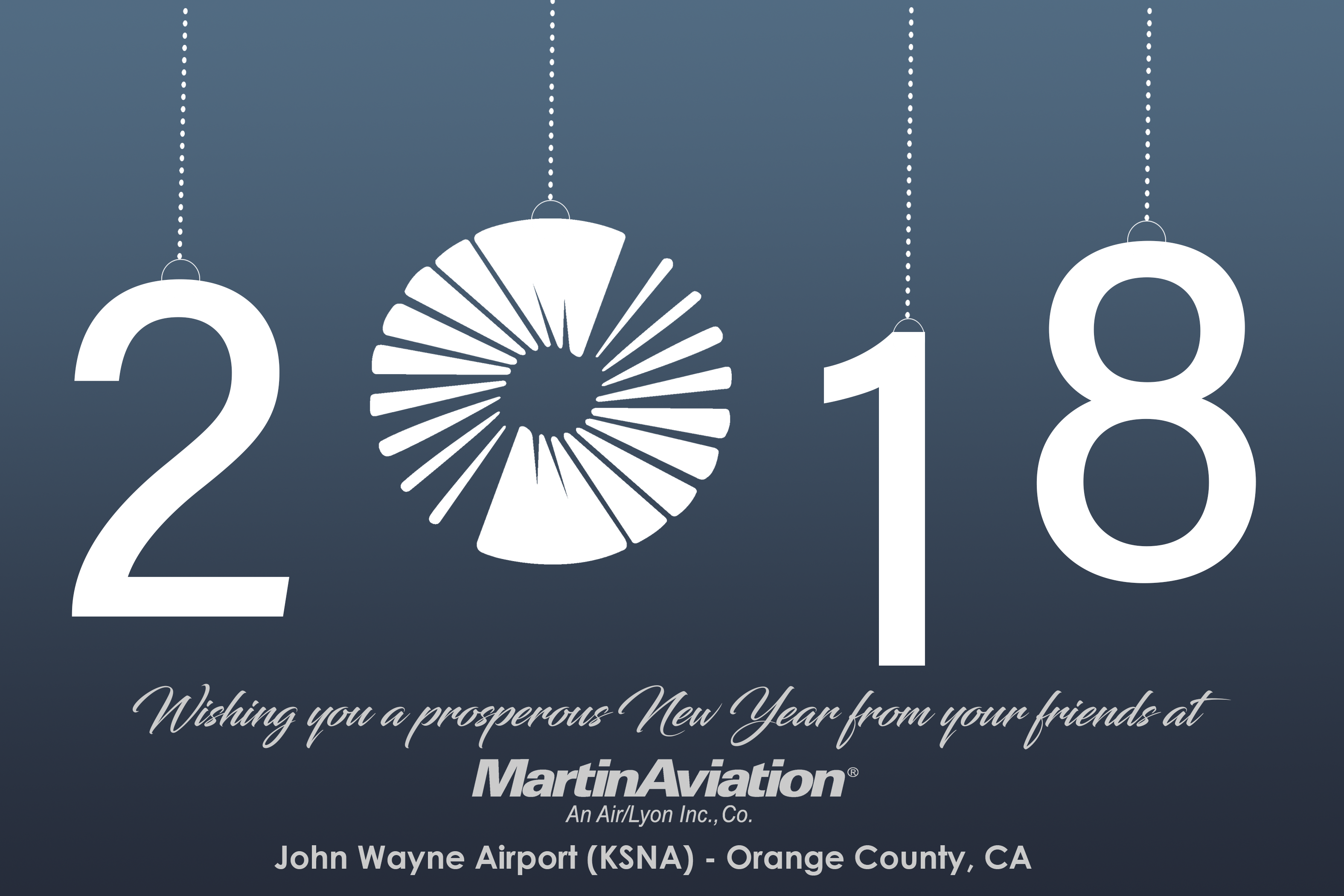 Martin Aviation Happy New Year Card 2018
