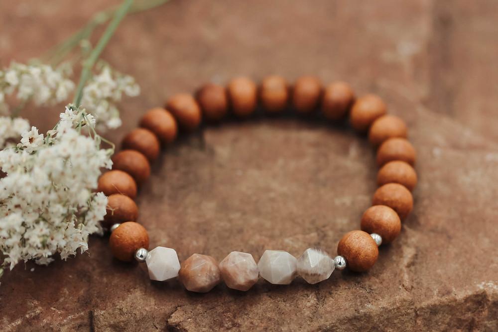Peach Moonstone + Sandalwood Meditation Bracelet
