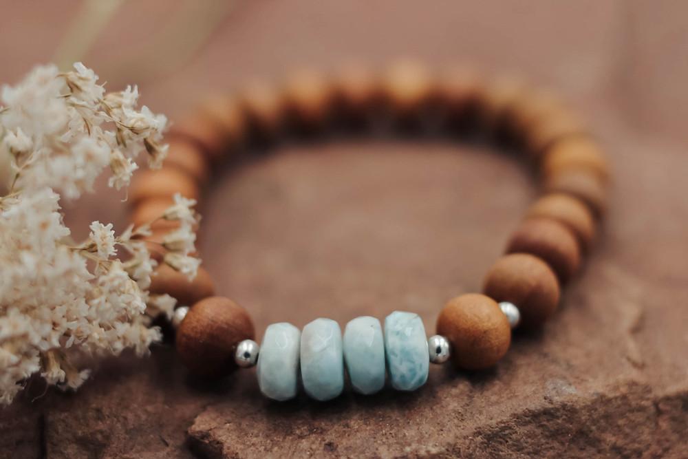 Larimar + Sandalwood Meditation Bracelet