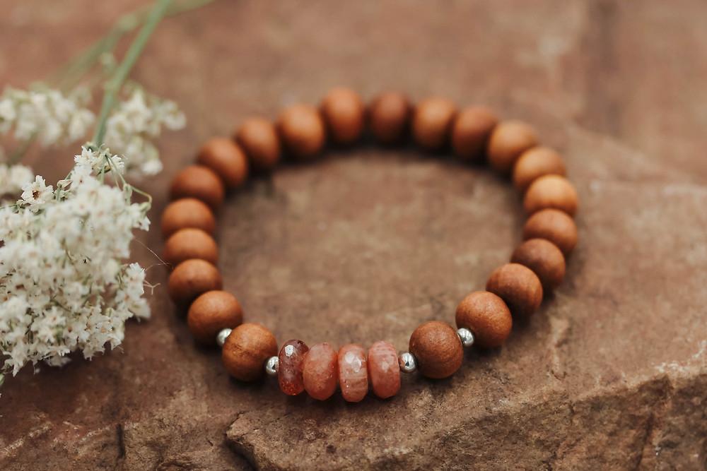 Sunstone + Sandalwood Meditation Bracelet