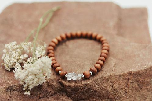 6mm Sandalwood + Triple Clear Quartz Meditation Bracelet