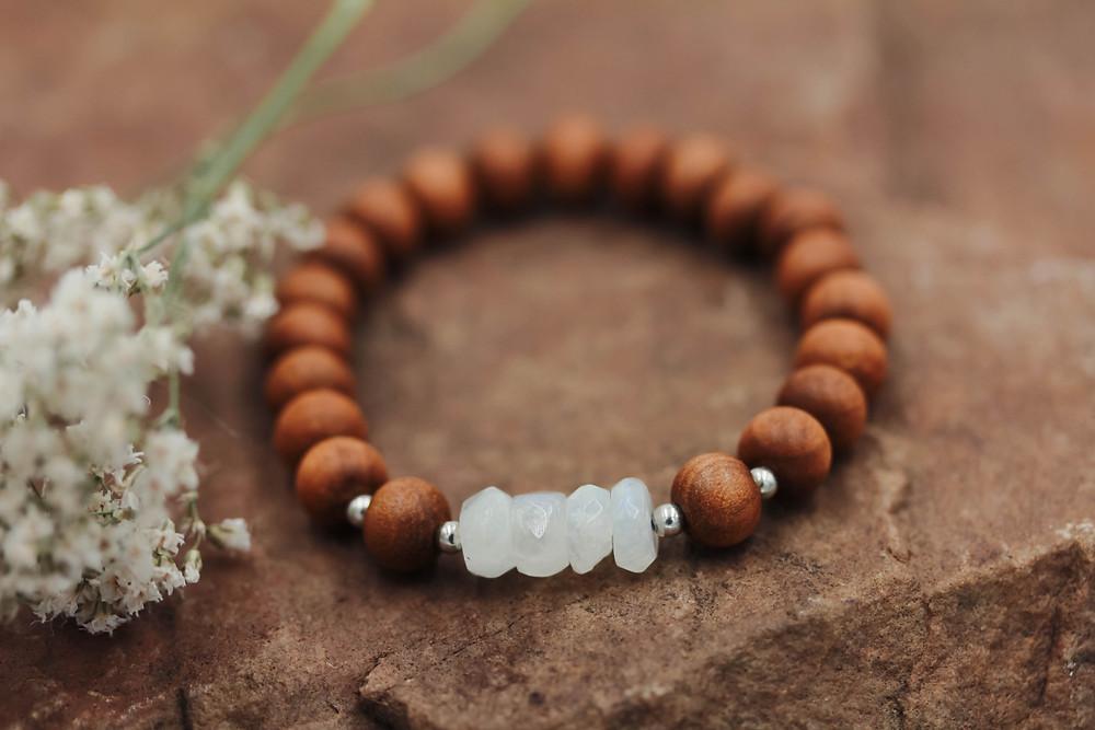 Rainbow Moonstone + Sandalwood Meditation Bracelet