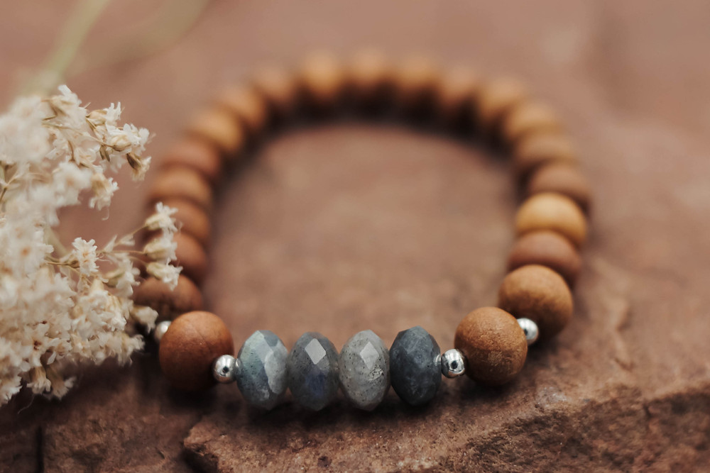 Labradorite + Sandalwood Meditation Bracelet