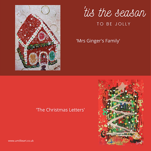 Pack of x4 A6 or A5 Christmas Card and Envelopes
