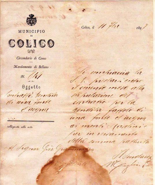 Colico 1897 - Preliminari per la vendita di una fonte d'acqua per la produzione dell'energia elettrica fra il municipio di Colico e Giovanni Gramatica