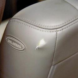 leather repair - before
