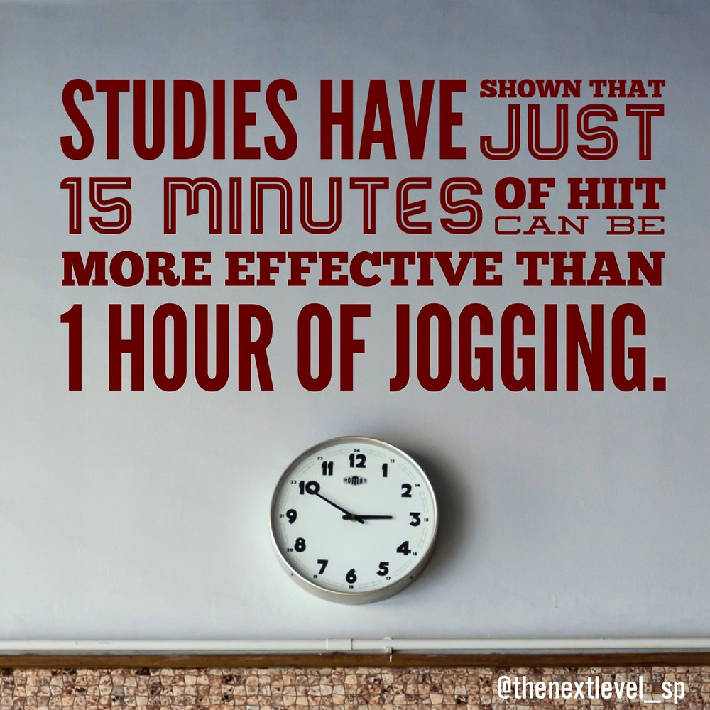 studies have shown that just 15 minutes of HIIT can be more effective than 1 hour of jogging