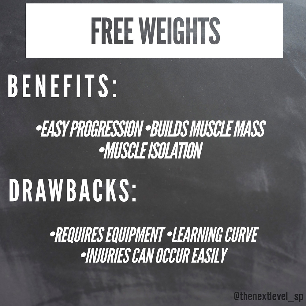 pros and cons of free weight exercise