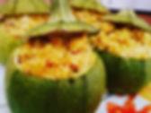 Courgettes rondes, crevettes et couscous