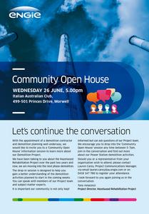 ENGIE Hazelwood Community Open House Wednesday 26 June 5pm Italian Australian Club Morwell
