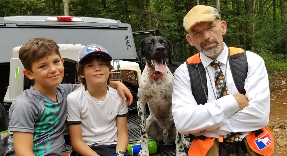 Hunting GSP as a family, NAVHDA natural ability test.