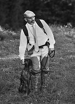 German shorthaired pointer in NAVHDA test.  Hunting dog, chien de chasse, braque allemand.