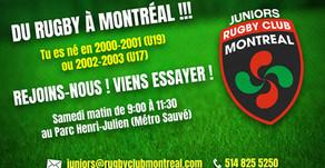 ● 10 MAIS 2019 ● JUNIORS RUGBY CLUB MONTRÉAL