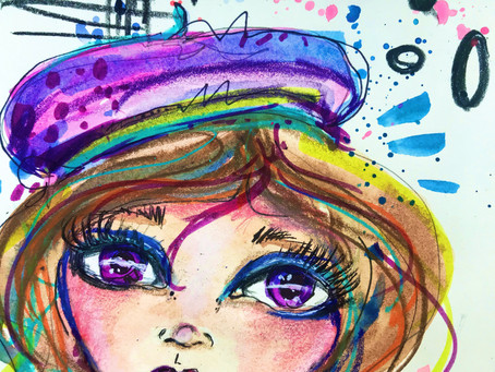 Time Lapse Video : Whimsical Watercolor Face