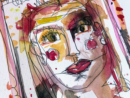 Quick Art Wednesday | Continuous line face with watercolor detail