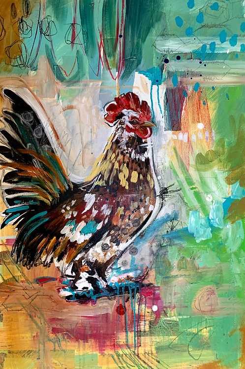 Orange Guy - Original Rooster Painting