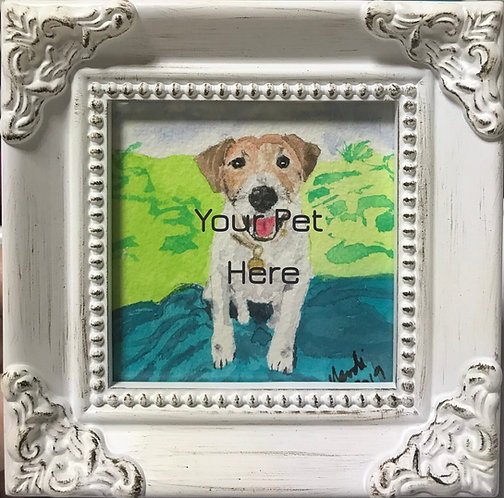 "Custom Pet Portrait - Watercolor - 3"" x 3"" framed"