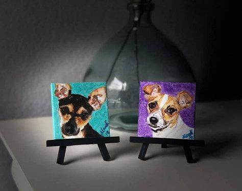 """Custom Pet Portrait - Acrylic - 3"""" x 3"""" canvas on easel"""
