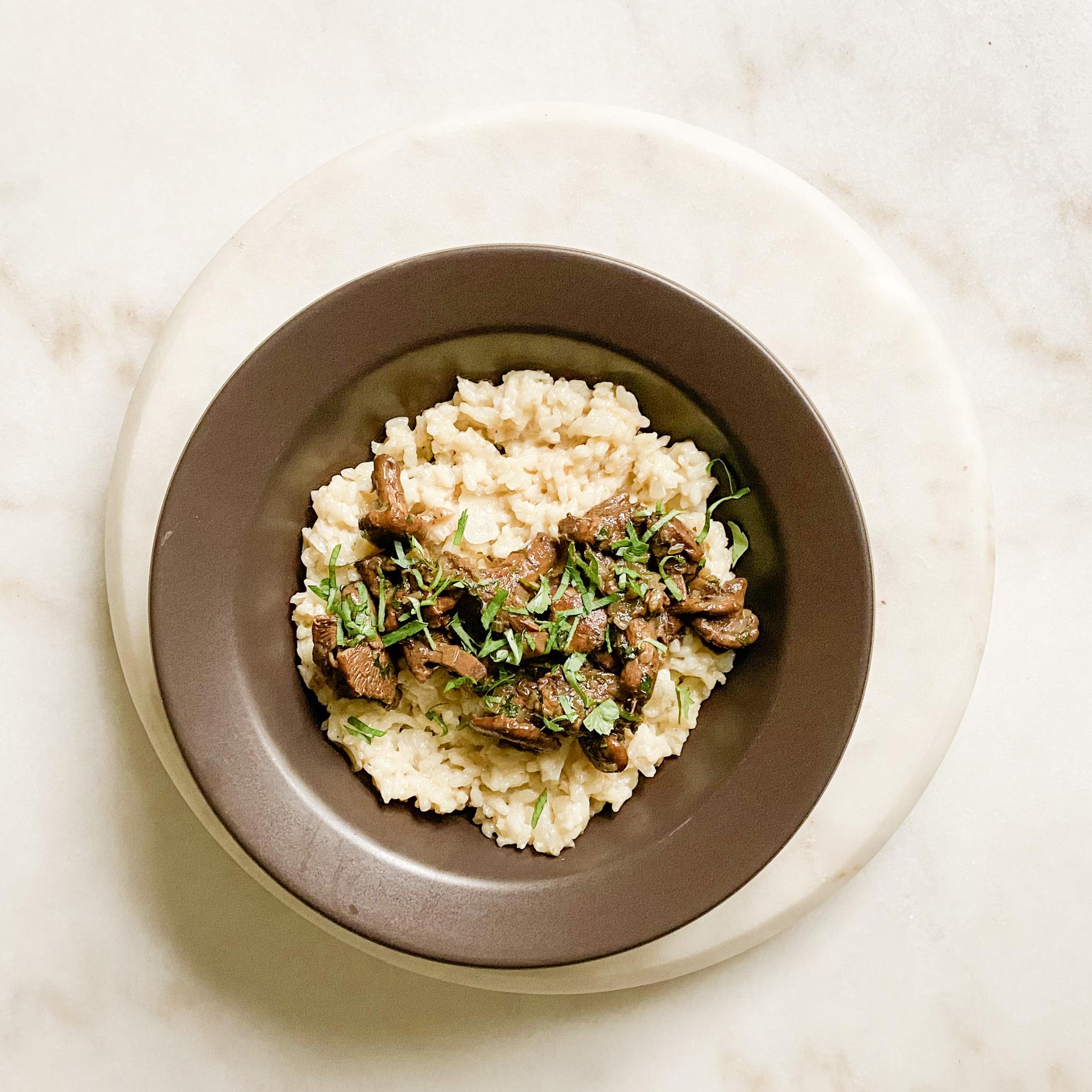White Onion Risotto + Wild Mushroom Gravy