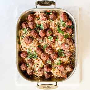 Smoked Meatballs and Butter Roasted Tomato  Spaghetti