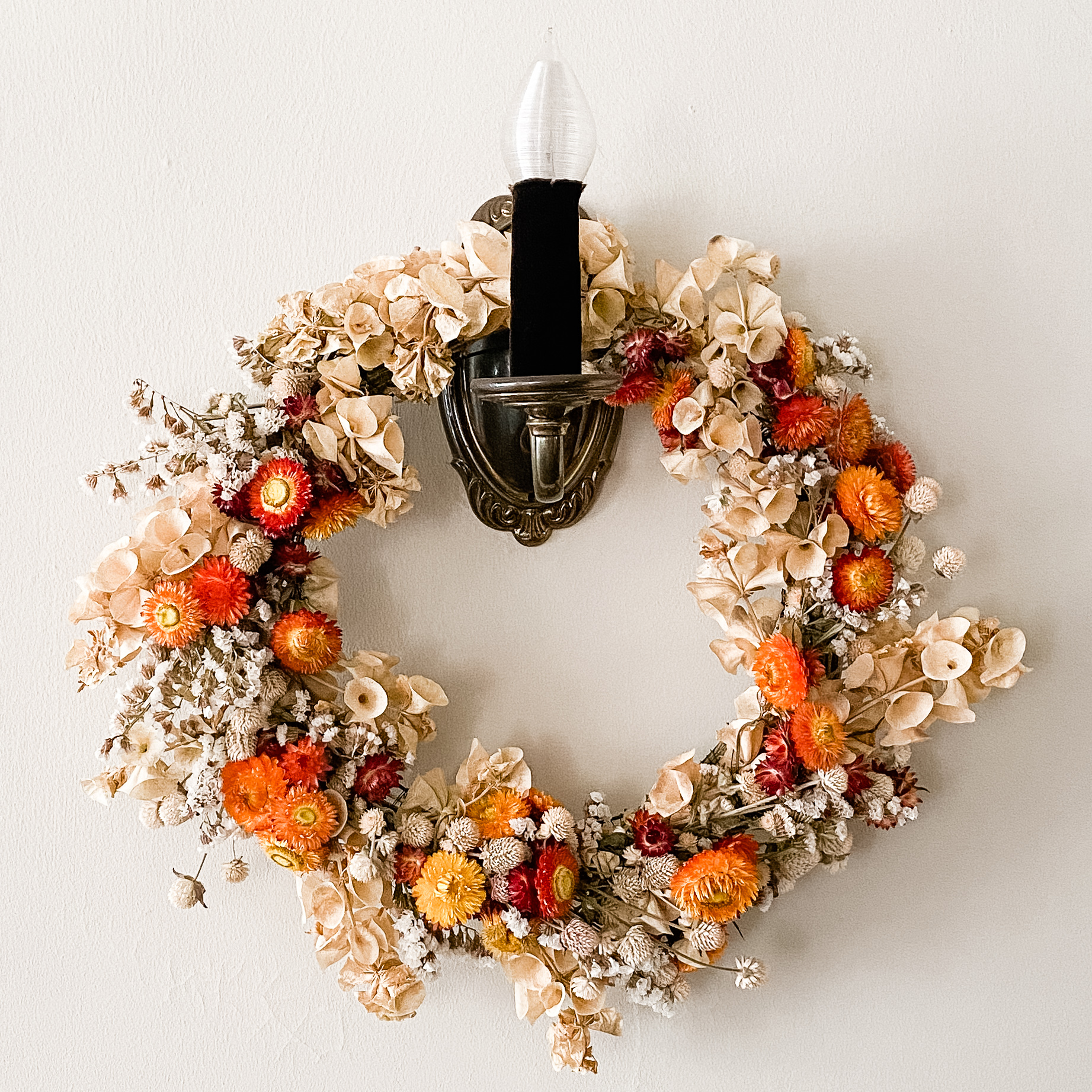 Summer Flowers to Autumn Colors Wreath
