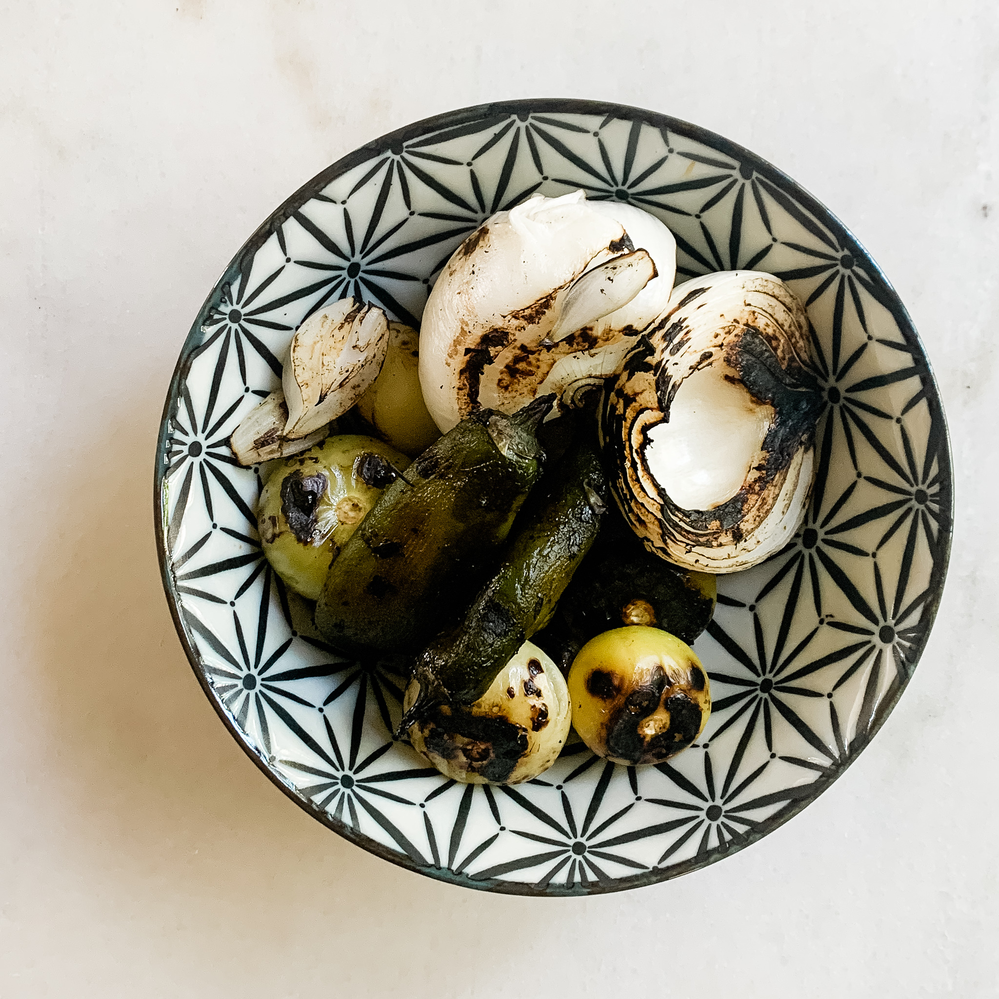 Charred Onion, Tomatillo + Peppers