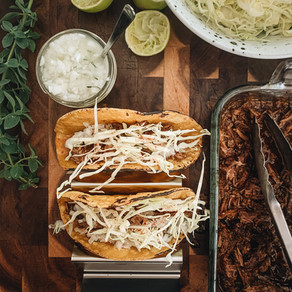 Beef Barbacoa with Lime Salted White Onion and Cabbage Tacos