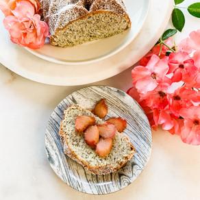 Poppy Seed Rhubarb Cake with Vanilla Poached Rhubarb