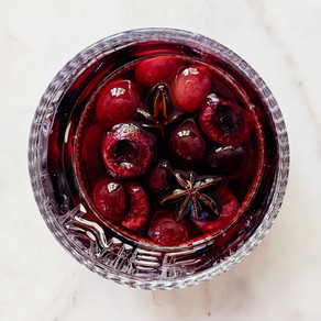 Star Anise Poached Cherries and Wine Syrup