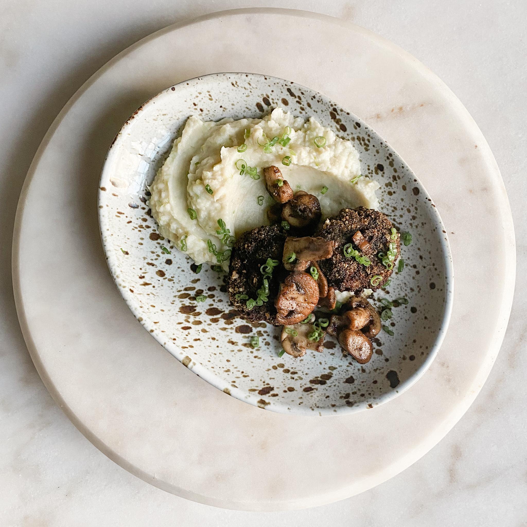 Pork Panko Frikadellen + Sautéed Mushrooms