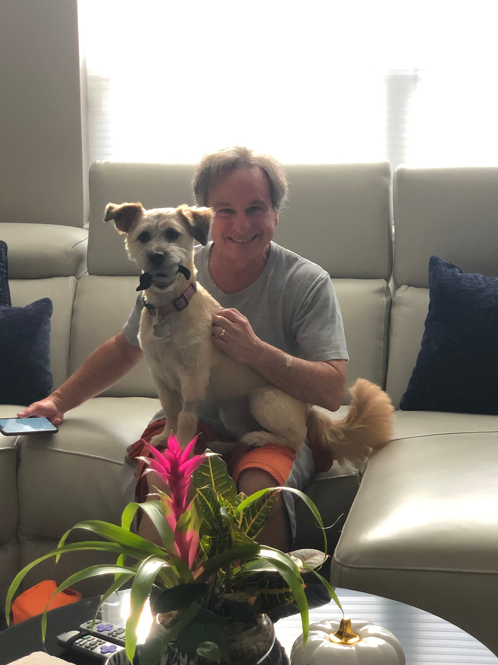 empty  nesters finally, Brad with Rio the dog