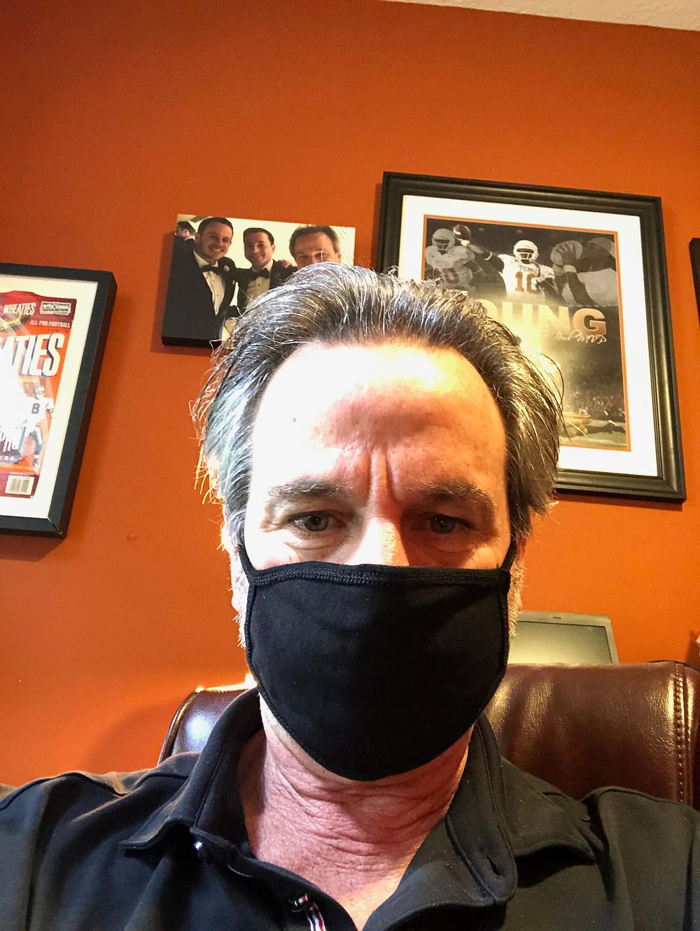 Empty Nesters Finally Brad models his mask for #quarantine