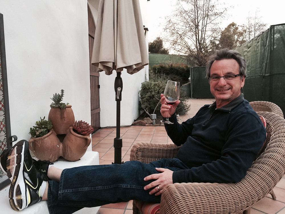 empty nester Brad drinking wine, Ojai Valley Inn