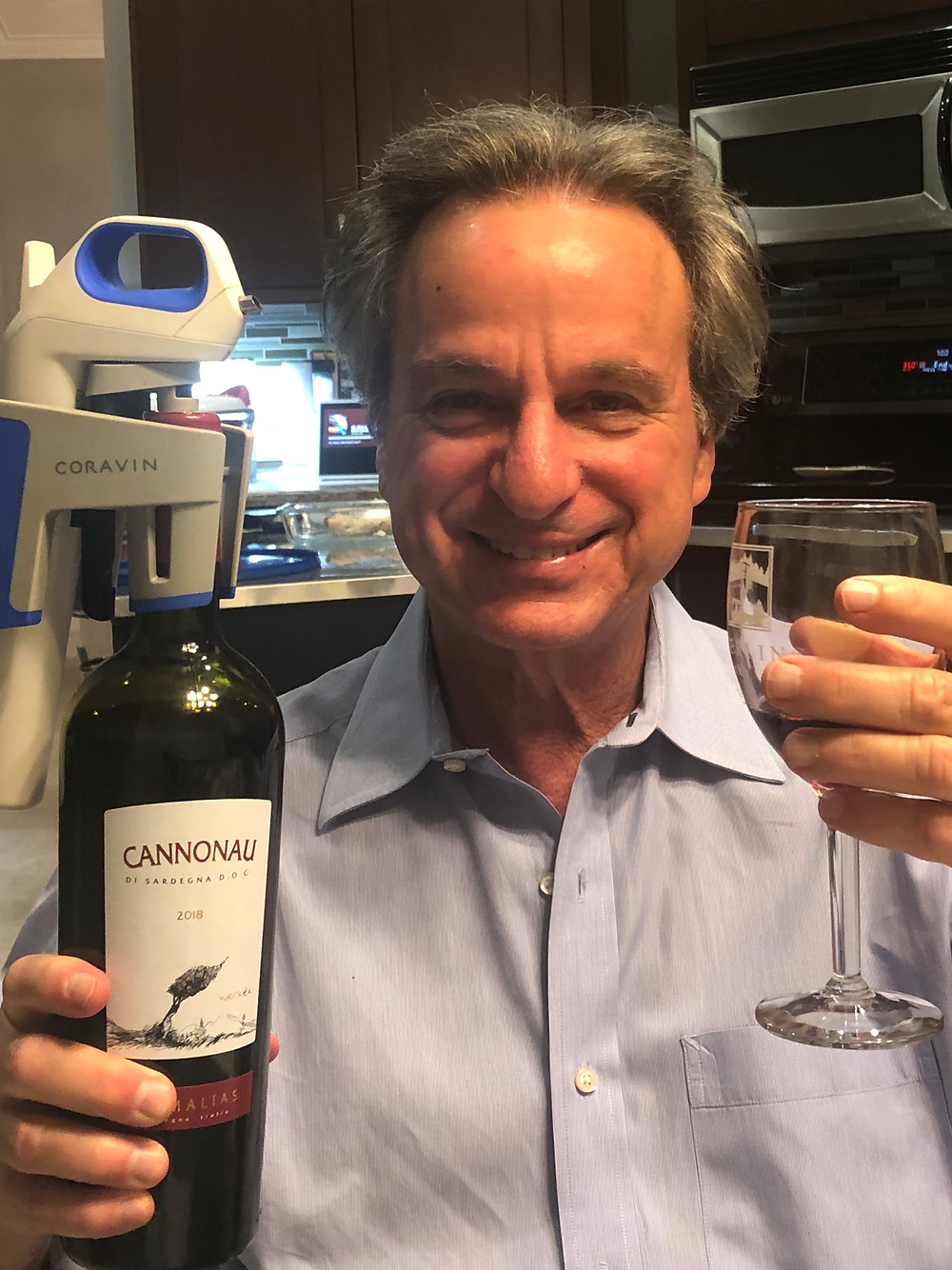 EMPTY NESTER BRAD USING CORAVIN TO DRINK  RED WINE FOR HIS HEALTH