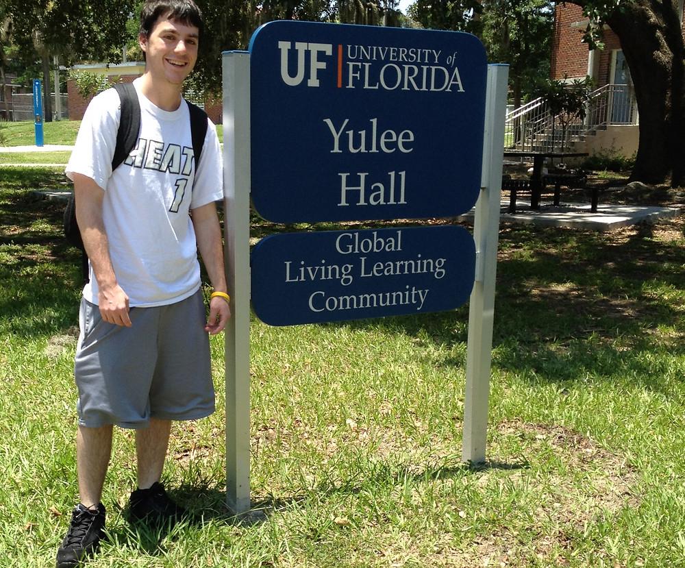 UNIVERSITY OF FLORIDA, DREW IN FRONT OF DORM, EMPTY NESTERS FINALLY