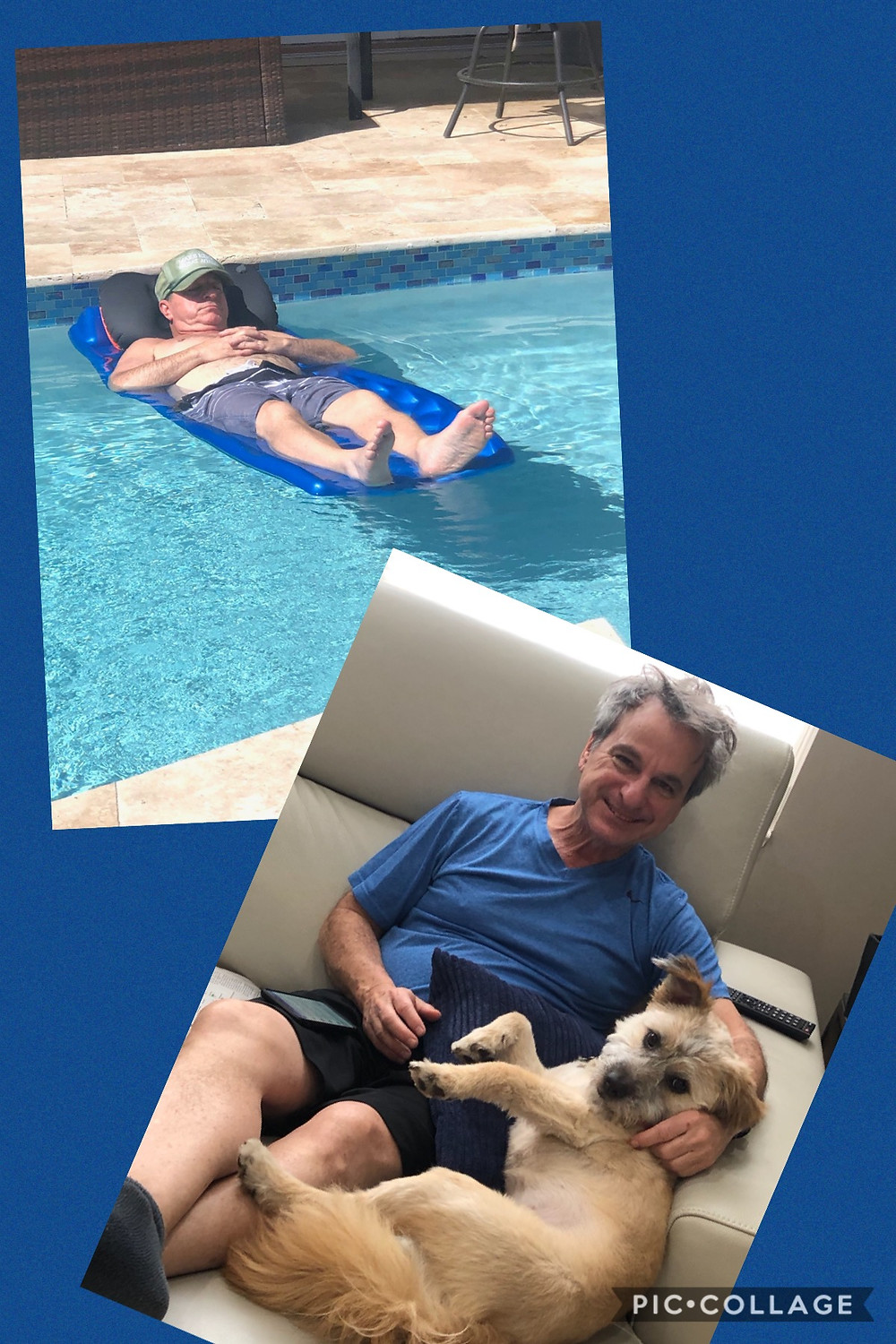 Relaxing in the pool and with our grand dog, Rio