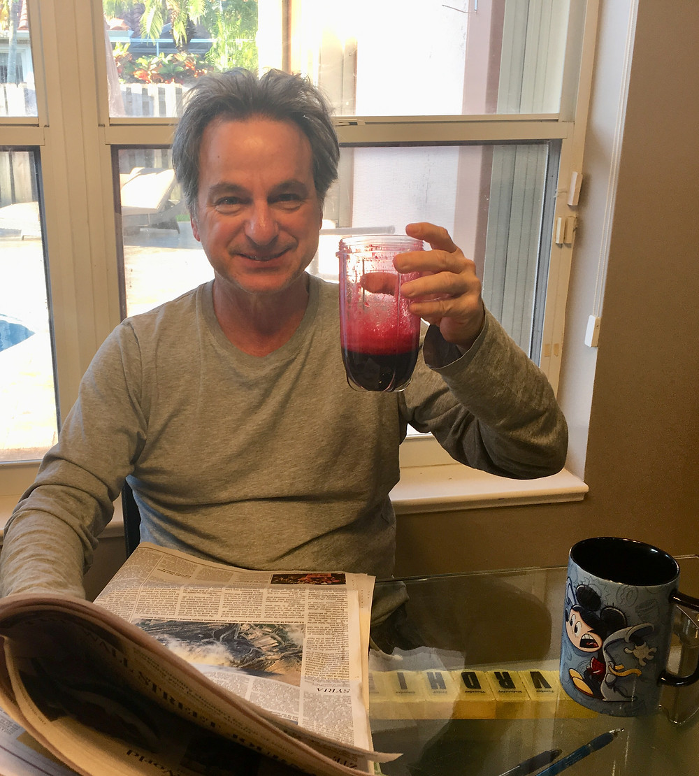 Brad drinking juice, empty nesters finally, empty nest dads
