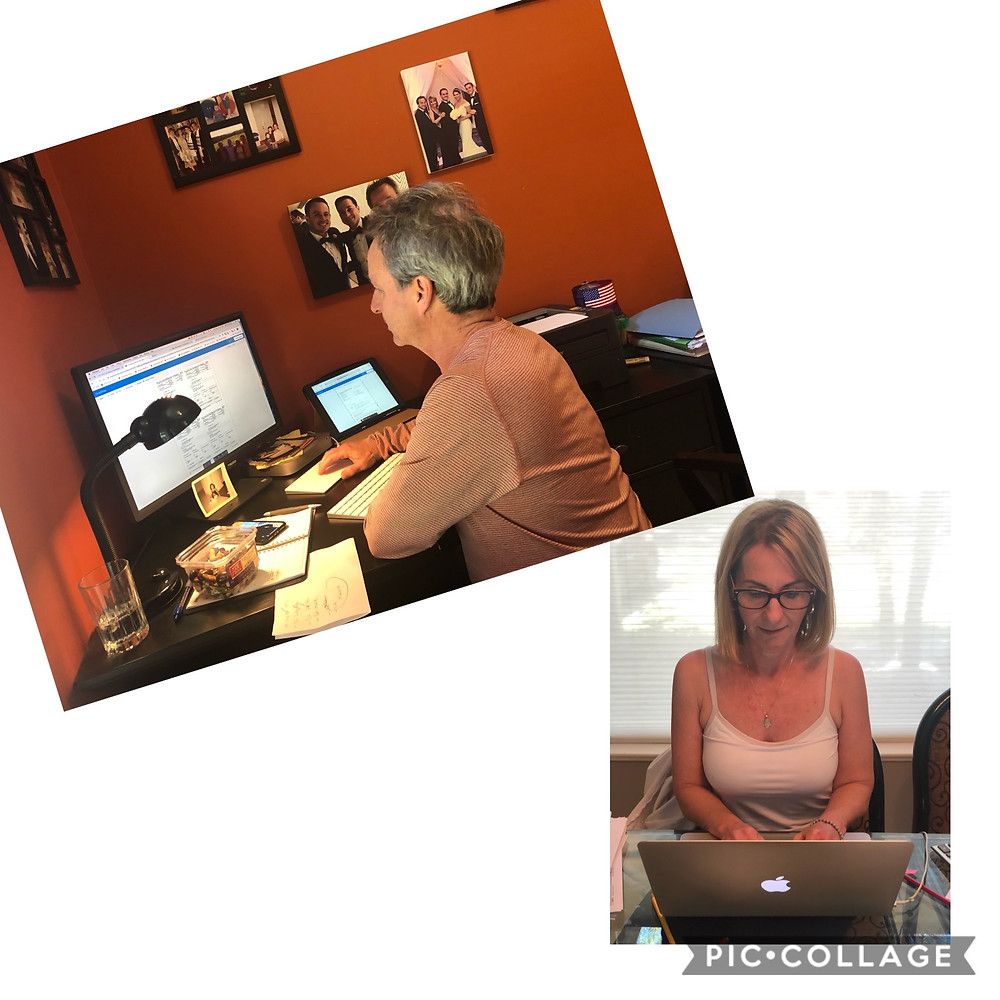 EMPTY NESTERS WORKING FROM HOME BUT IN SEPARATE ROOMS