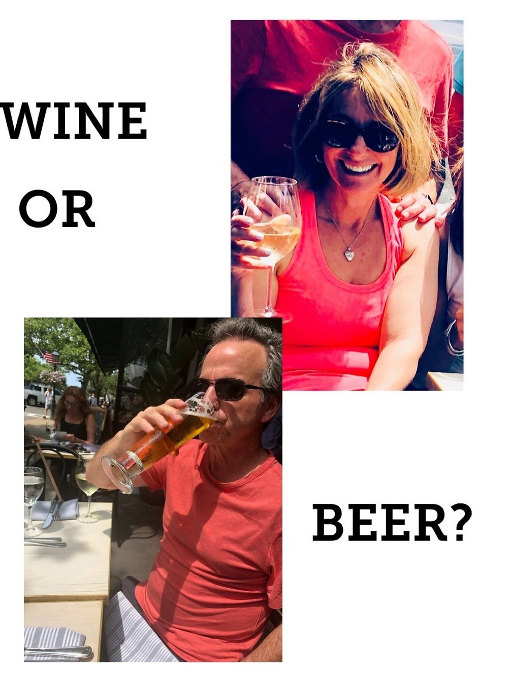 empty nesters finally, drinking wine and beer
