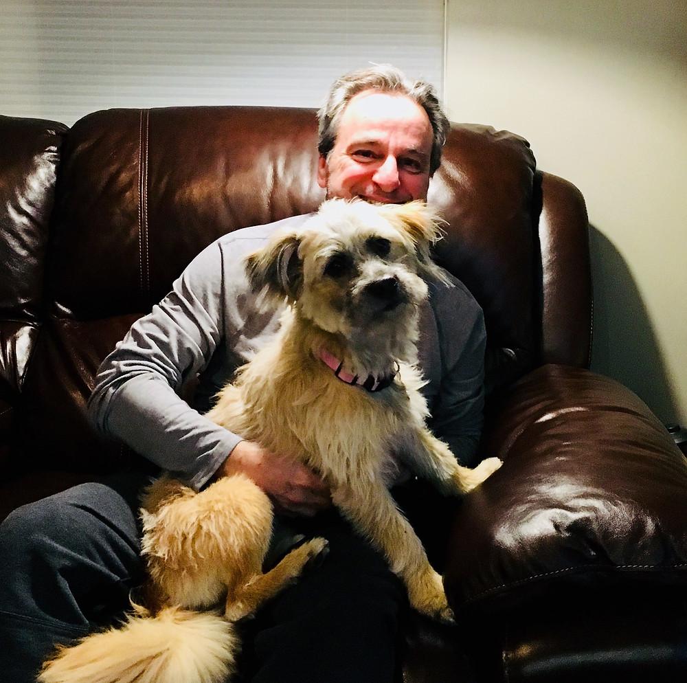 BRAD WITH RIO, Lane's dog and Brad's best friend