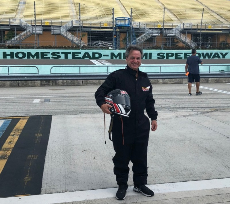 Empty Nester Brad gets to race car at Miami Speedway