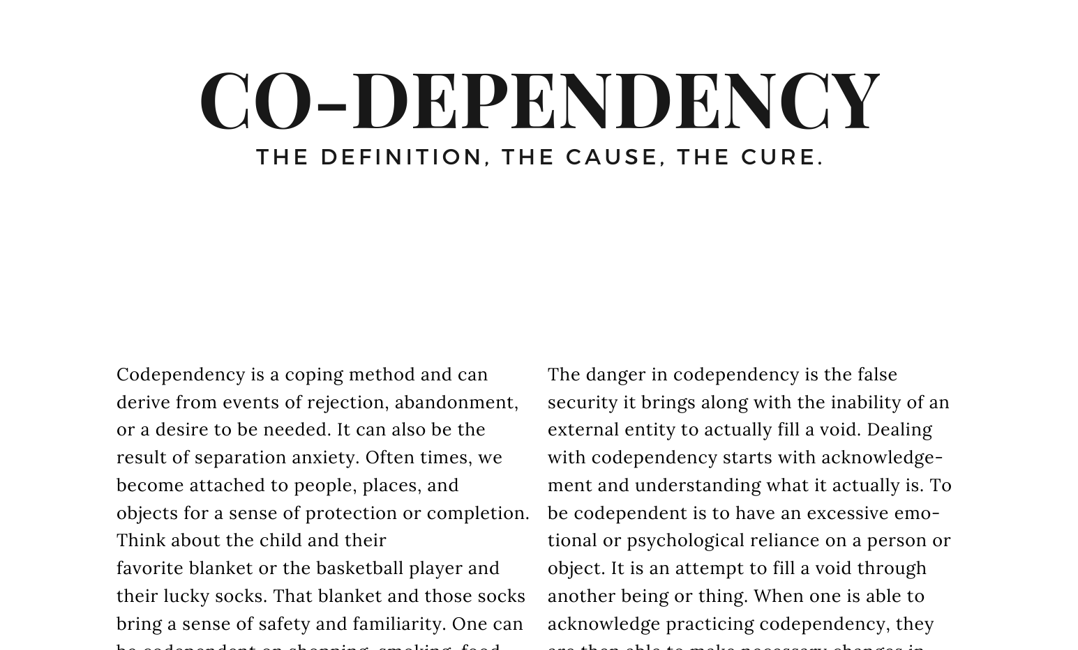 Curated, A TJM Publication - Codependency