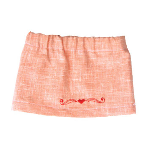 Orange Skirt with Embroidered Heart S-05