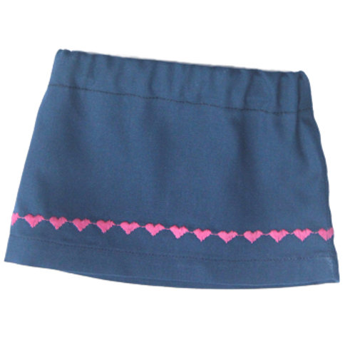 Blue Skirt with Embroidered Hearts S-03