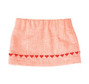 Orange Skirt with Embroidered Hearts  S-06