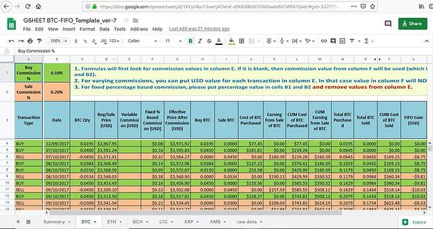 Bitcoin Cryptocurrency FIFO Gain Google Sheet Calculator