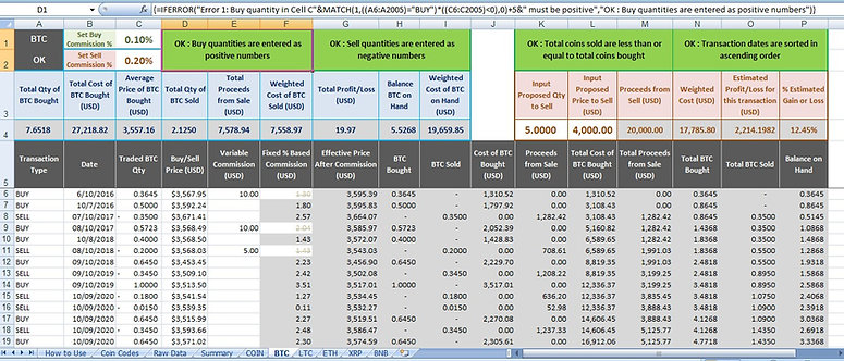 Bitcoin Cryptocurrency Trading Weighted Average Cost Based Gain Excel Calculator