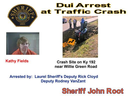 Dui arrest at traffic crash on Ky 192