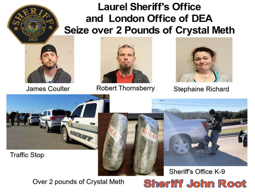 Two pound of meth seized in Laurel County arresting three